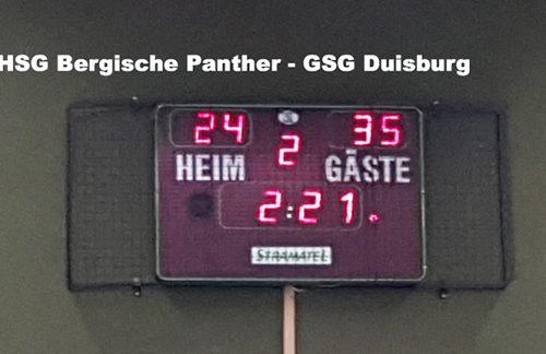 Frauenhandball Oberliga: HSG Bergische Panther – GSG Duisburg  24:35 (14:15)